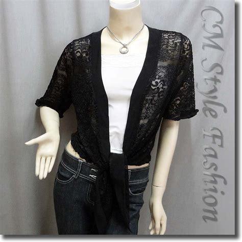 Flowy Cardi Set front tie flowy ruffle floral lace cardigan top black m l