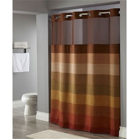 hookless shower curtain brown hookless 174 stratus polyester shower curtain w it s a snap replaceable liner 71x77 brown multi