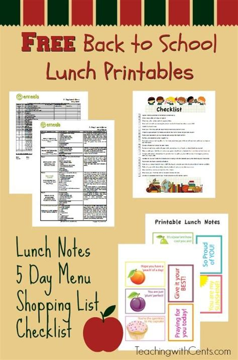 free printable easy 5 day lunchbox planner lunch box 106 best back to school images on pinterest back school