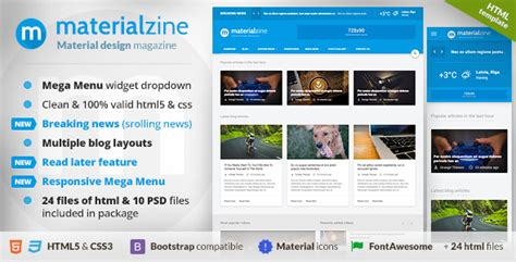 templates blogger material design materialzine blog magazine material design html