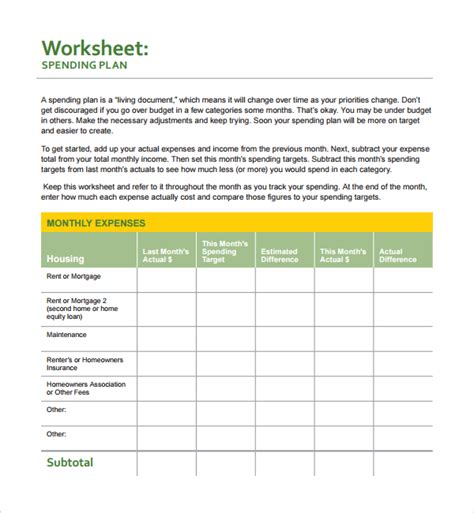 collection of spending plan worksheet cockpito