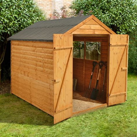 Assembled Garden Sheds by 8 X 6 Overlap Apex Wooden Garden Shed With 2 Windows And