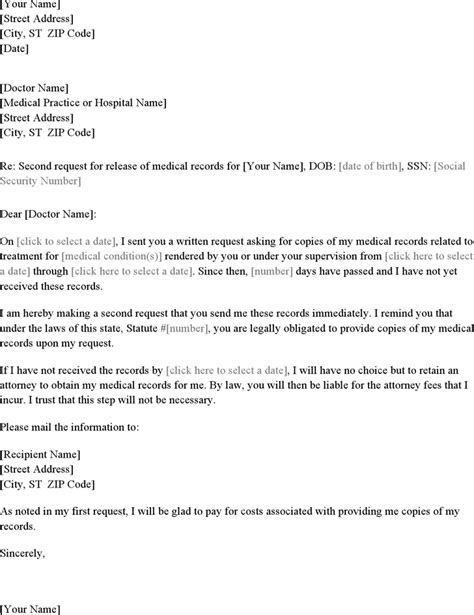 Release Letter From Hospital second letter requesting records for free