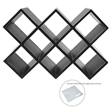 modern geometric freestanding synthetic leather wine rack