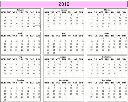 printable calendar 2016 monday first yearly 2016 printable calendar color weekday starts