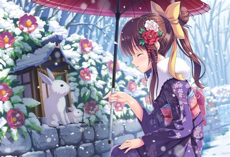 anime girl kimono wallpaper hd anime girls japanese umbrella rabbits snow flowers