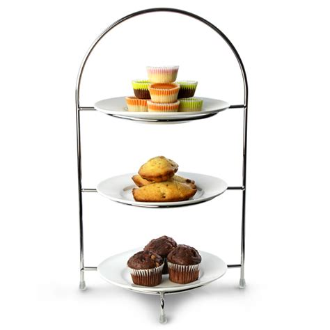 Etagere Landhaus by Utopia Chrome 3 Tier Cake Plate Stands Cake Stands