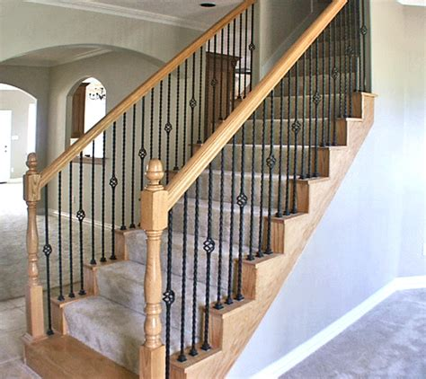 wrought iron and wood banisters stairways