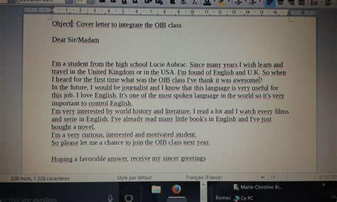 Lettre De Motivation Oib Anglais bonjour a tous j aimerai int 233 grer une classe oib l 233 e
