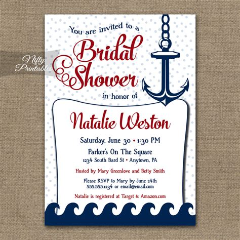free printable wedding invitations nautical red nautical bridal shower invitation red nautical