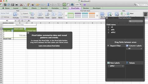 Pivot Table Excel Mac by Macos Get Rid Of Pivottable Help On Excel For Mac