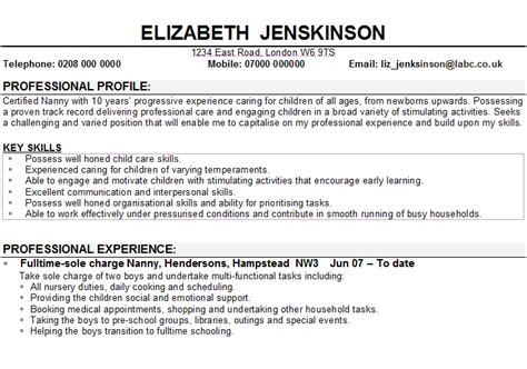 Best Resume Executive Summary Examples by Child Care And Nanny Cv Sample