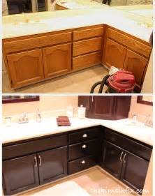 Staining Kitchen Cabinets Darker Before And After How To Stain Oak Cabinetry Tutorial The Kim Six Fix