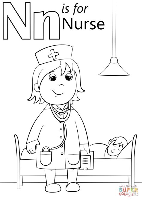 Preschool Coloring Pages Nurse | n is for nurse coloring page free printable coloring pages