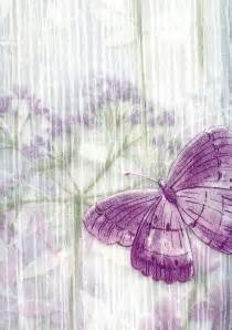 shower curtain abundance purple green white butterflys on