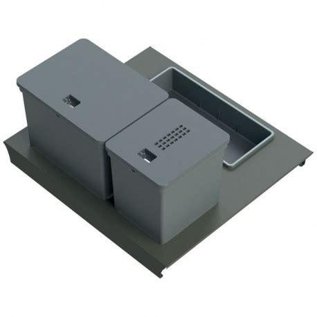 poubelle de tiroir kit poubelle de cuisine pour tiroir de 600 mm 2 bacs 20 l