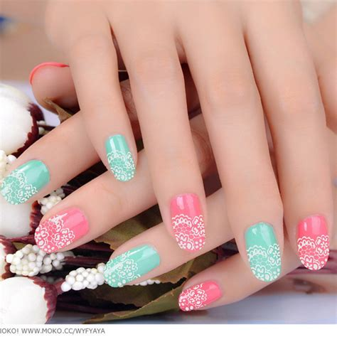 Nail Sticker Stiker Kuku Nail 3 fashion 3d nail lace nail stickers decals multicolor transfers white silver flowers