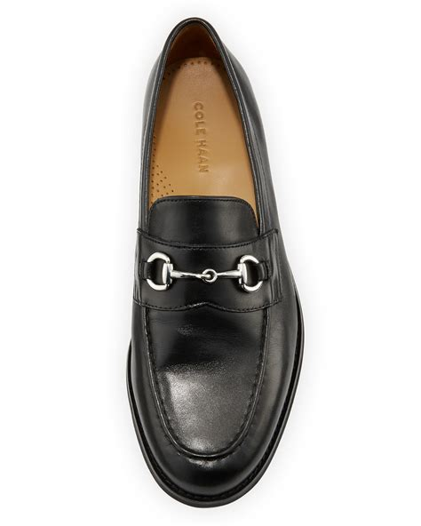 cole haan leather loafers lyst cole haan maxwell leather horsebit loafer in black