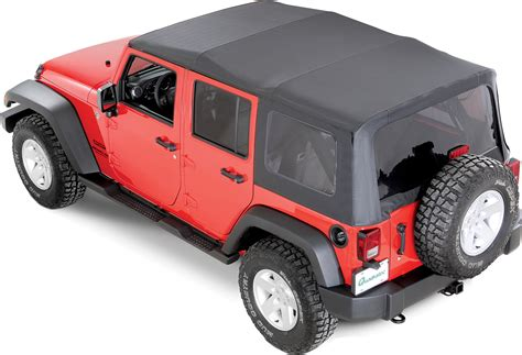 black jeep wrangler unlimited soft top quadratop premium sailcloth replacement soft top in black