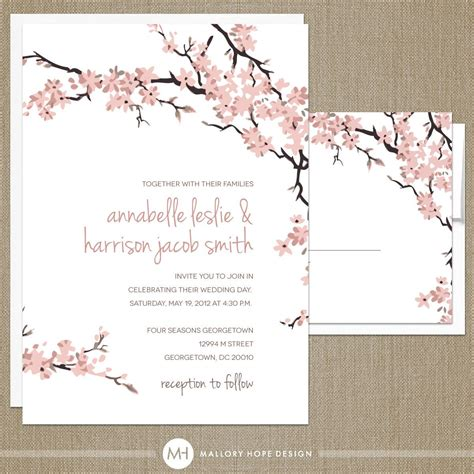 Cherry Blossoms Wedding Invitation Rsvp Set Floral Cherry Blossom Invitation Template