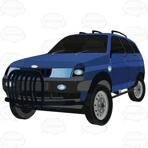 Suv Rack by Blue Suv Auto With Roof Rack And Tinted Windows Vector