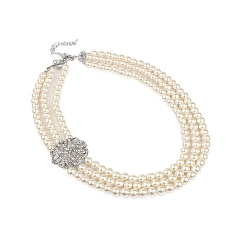Three String Choker diamante clasp 3 string pearl necklace jewellery by