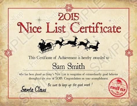 printable santa good list 8 best images of santa nice list certificate free