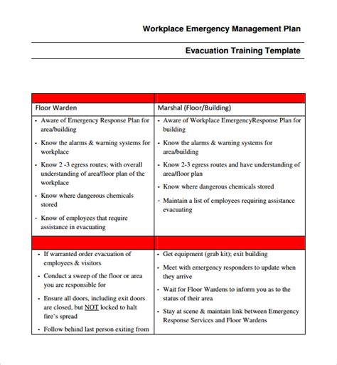 workplace plan template sle emergency response plan template 9 free
