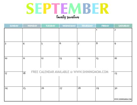 Calendar Printable September 2017 Your Free 2017 Printable Calendar And Colorful