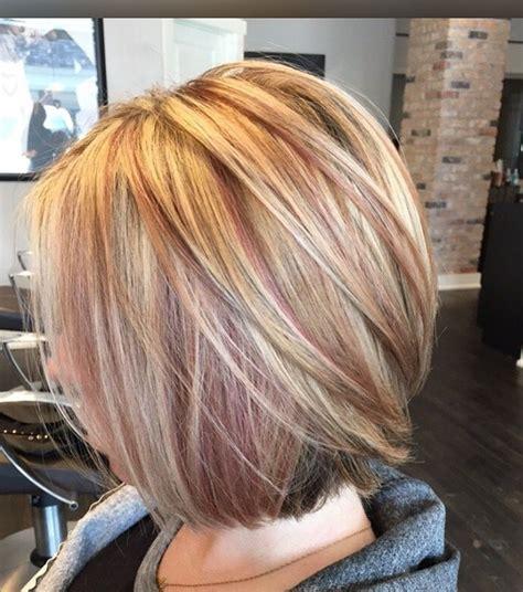 short blonde highlighted styles blonde rose gold highlights my work pinterest
