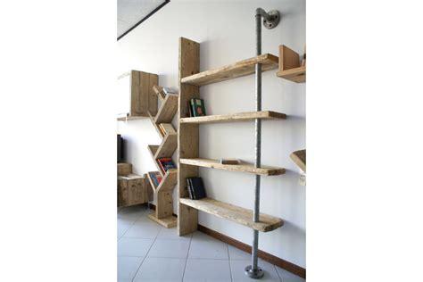 libreria legno libreria in legno di recupero e tubi in acciaio xt lib001