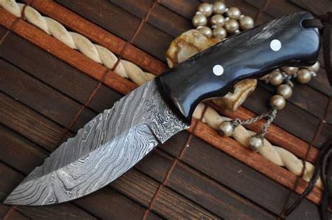 Handmade Custom - custom handmade damascus knife horn handle perkin