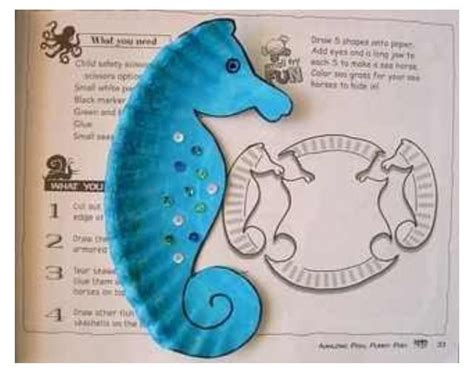 Seahorse Paper Plate Craft - seahorse paper plate craft kiddie crafts