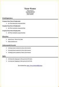 Free Basic Resume Templates Free Basic Cv Templates To Download Incident Report Template