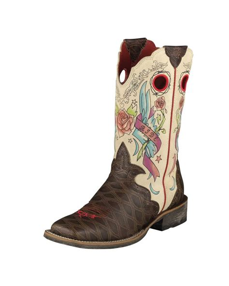 tattoo lotion boots ariat women s rodeobaby rocker square toe boot