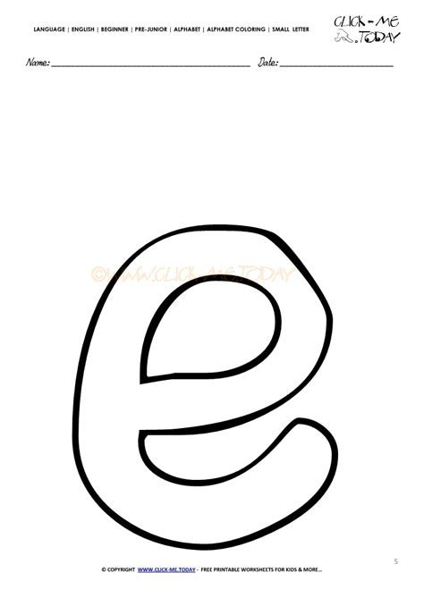 Letter Small alphabet small letter coloring page e