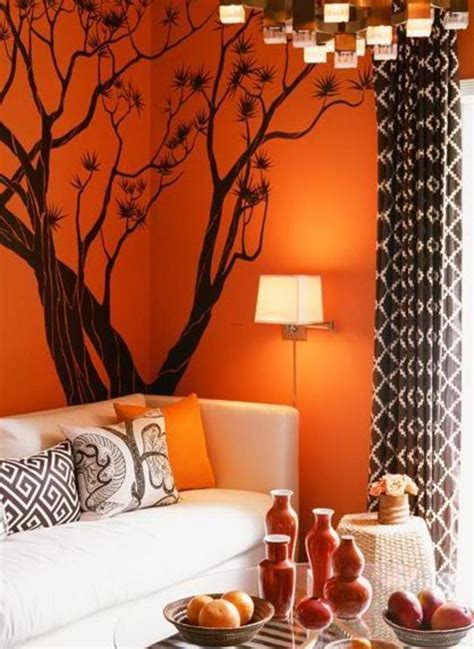 orange wall decor decorating a living room in orange wall room decorating