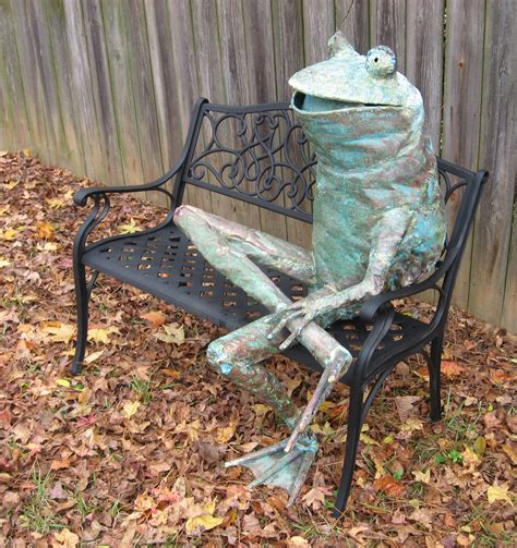 frog on bench frog sitting on a bench beau smith s copper frog workshop
