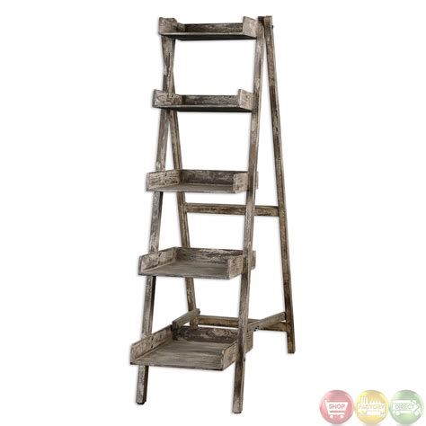 annileise weathered wood ladder style display shelf unit 24326