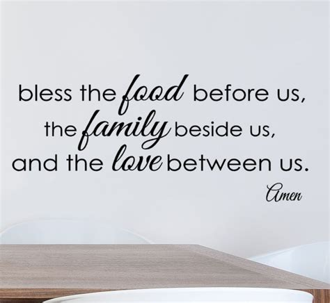 how to bless a room with a prayer bless the food before us vinyl wall decal quote dining room decor kitchen quotes family