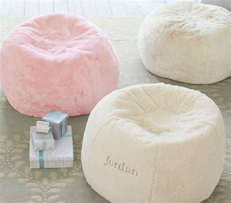 faux fur chair pink pink faux fur anywhere beanbag pottery barn