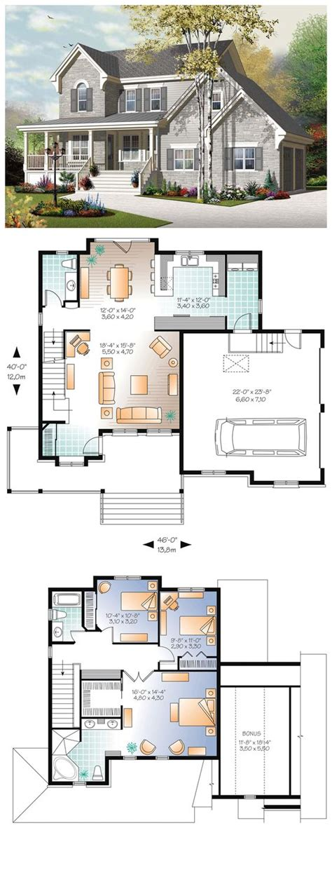 European Floor Plans by European House Plan 76322 Bonus Kamers House En Vloeren