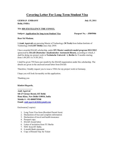Letter To Embassy For Student Visa Visa Sle Cover Letter