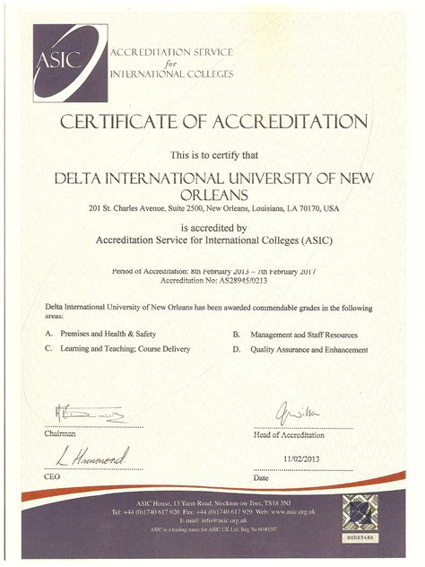 Of Mba Accreditation by Delta University