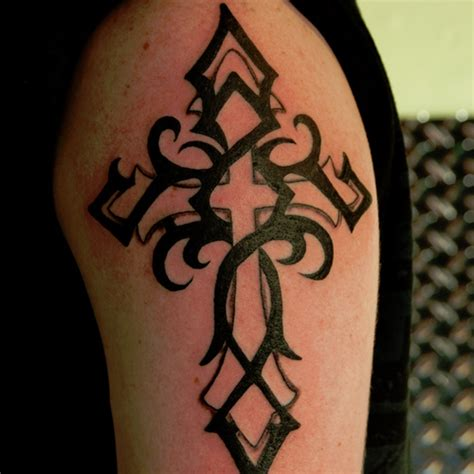 left shoulder tribal tattoo cross images designs