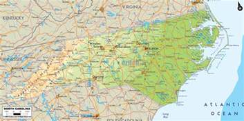 physical map of nc physical map of carolina ezilon maps
