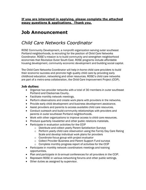 Child Development Cover Letter Child Care Cover Letter Sle Chainimage