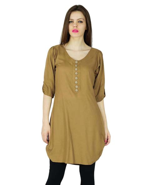 Brown Ethnic Tunic Dress 16989 1 indian kurta kurti designer ethnic dress