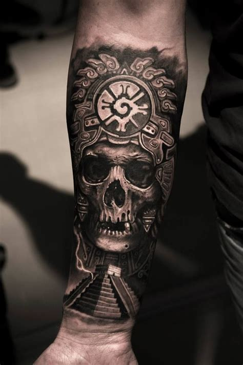 aztec arrow tattoo mayan skull king by mumia mbtattoos i d put a