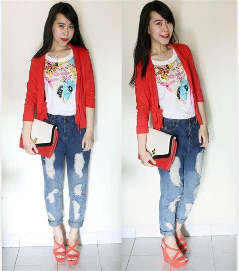 Zara Ripped Bangkok meliecia hidayat blazer flowery top bangkok stuff